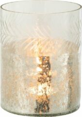 J-Line Windlicht Klassiek Crackle Glas Transparant/Zilver Small