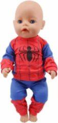 Lynn's Poppenkleertjes - Geschikt voor Baby Born - Pyjama superheld - Spiderman - Blauw en rood - Slaapkleding - Nachtkleding