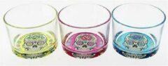 Cerve Mexican Skull - Glas - 23cl - 3 Kleuren - (Set van 12) En Yourkitchen E-kookboek - Heerlijke Smulrecepten