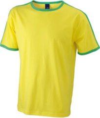 Gele James & Nicholson Geel met groen heren t-shirt M