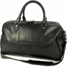 Zwarte Chesterfield Leren reistas weekendtas WILLIAM Wax pull up Zwart