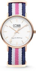CO88 Collection Watches 8CW 10030 Horloge - Nato Band - Ø 36 mm - Blauw / Wit / Roze