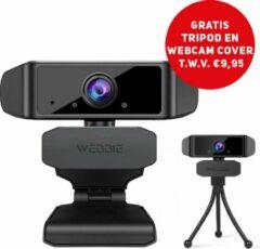 Zwarte Webbie Webcam Voor PC- Webcam Met Microfoon - Webcams – Thuiswerken - Full HD 1080P Voor Helder Beeld en Geluid – Geschikt voor Windows en Mac - Inclusief Gratis Tripod