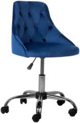Donkerblauwe Bureaustoel met wielen kobaltblauw fluweelstof PARRISH
