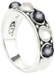 Symbols 9SY 0060 50 Zilveren Ring - Maat 50 - Parel - Grijs - Wit - Geoxideerd