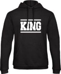 Zwarte B&C Collection King & Queen Hoodie Lines (King - Maat XL)