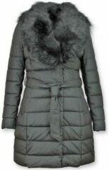 Gentile Bellini Lange Parka Dames Winterjas – Met Zwarte Bontkraag – Zwart - Maat: XL