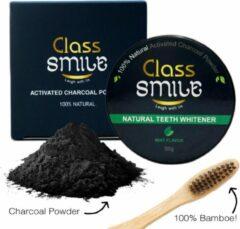 Gouden Class Smile Activated Charcoal Poeder met GRATIS Bamboetandenborstel- Charcoal Poeder 100% Natuurlijk - Houtskool poeder 30g