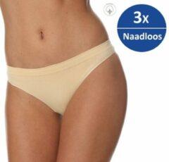Brubeck Dames Ondergoed String - Naadloos Elastisch Katoen 3-Pack - Beige - XL
