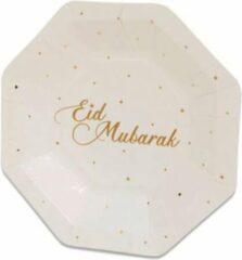 Goudkleurige Witbaard 8x stuks Ramadan Mubarak thema bordjes wit/goud 18 cm - Suikerfeest/Offerfeest decoraties