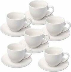 Witte 6x stuks Espresso koffiekopjes en schotels set - Keuken/koffie koppen accessoires