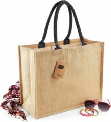 Beige Westford Mill Jute boodschappentas/shopper naturel/zwart 42 x 33 x 19 cm - Naturel goodiebag 21 liter
