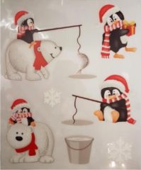 Peha Stickervel Kerst Pinguins 28,5 X 34,5 Cm Wit/rood