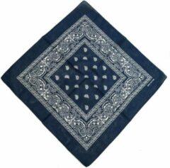 Marineblauwe Fako Fashion® - Bandana - Hoofddoek - Mondbescherming - Zakdoek - Paisley - Navy Blauw