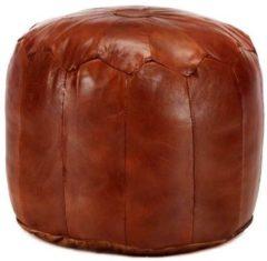 Bruine 5 days Poef 40x35 cm echt geitenleer tan