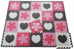 Happykiddoos 20 Foam puzzel speelmatten bestaande uit grijs/wit uitneembaar hart en roze/lichtroze uitneembare bloem incl. nette grijze afwerkrand en handige opbergtas. De 1cm dikke puzzelmatten zijn ideaal voor urenlang speelplezier. Totale afmeting 152x