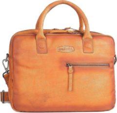 "Sparwell Tas - Lederen laptoptas 14"" inch - Aktetas - Werktas - 100% Leer - Cognac / Bruin"