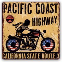 HAES deco - Retro Metalen Muurdecoratie - Pacific Coast Highway - Highway 1 - Western Deco Vintage-Decoratie - 30 x 30 x 0,6 cm - WD605