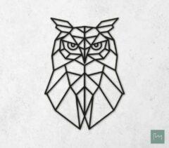 Laserfabrique Wanddecoratie - Geometrische Uil - Zwart - 58cm - Houten Dieren - Muurdecoratie - Line art - Wall art