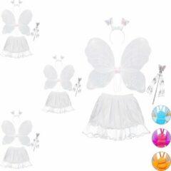 Witte Relaxdays 4 x fee kostuum kinderen - vlindervleugels - kinderkostuum - toverstaf – diadeem