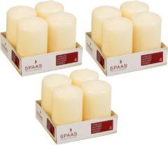 Witte Candles by Spaas 12x Ivoor cilinderkaarsen/stompkaarsen 5 x 8 cm 12 branduren - Geurloze kaarsen - Woondecoraties