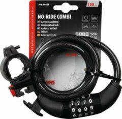 Lampa No-Ride Combi Fietsslot Kabelslot Cijferslot 10mm x 100cm zwart incl. Framehouder