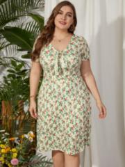 Marineblauwe YOINS Floral Print Bowknot Dress