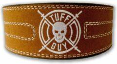 Bruine Tuff Guy Sports Brown Suede Lifting Belt, Gewichthefriem met dubbele gesp sluiting maat Small, met 12mm dikte