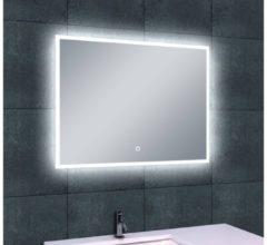 Transparante Saqu Deluxe Spiegel met LED verlichting Dimbaar 80x60 cm