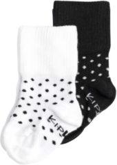 KipKep Blijf-Sokjes - Maat 6-12 mnd - Wit / Zwart met stip - 2 paar