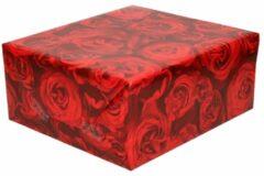 3x Inpakpapier/cadeaupapier Met Rode Rozen 200 X 70 Cm Op Rollen - Kadopapier/geschenkpapier