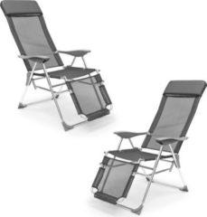 Relaxdays 2 x Liegestuhl im Set, 3-fach verstellbar, Klappstuhl mit Armlehne, Sonnenliege