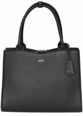 "Zwarte Socha Diamond Leather Businessbag 10-14"" Black"