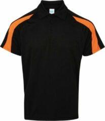 Awdis Gewoon Cool Mens Korte Mouw Contrast Paneel Poloshirt (Jet Zwart/Elektrisch Oranje)