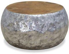 Zilveren VidaXL Salontafel 60x60x30 cm aluminium teakhout
