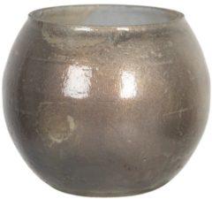 Clayre & Eef Glazen Theelichthouder 6GL2988 Ø 8*9 cm - Goudkleurig Glas Waxinelichthouder Windlichthouder