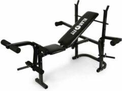 Klarfit Workout halterbank - fitnessbank - trainingsbank met berging - armcurler - beencurler - 160 kg max. - zwart
