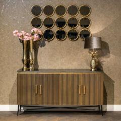 Richmond Interiors Richmond Dressoir 'Ironville' Metaal en Marmer, kleur Goud, 160cm