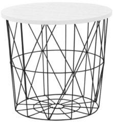 Home Style Bijzettafel Mariffa 42x41x42 cm breed in wit met zwart