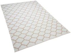 Beliani Tweezijdig tapijt in Marokkaanse Ooge-print beige 140 x 200 cm AKSU