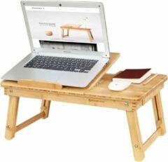 Songmics Laptoptafel Bamboe - In Hoogte Verstelbaar En Opvouwbaar