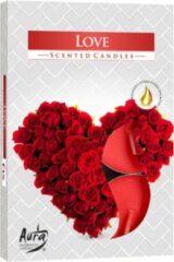Rode Bispol Aura - Geur Theelichtjes / Geurkaarsen / Waxinelichtjes / Scented Candles - Love - Zoete, kruidige geur - 1 doosje met 6 waxinelichtjes
