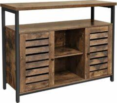 Acaza Dressoir, keukenkast met open vakken, ladekast voor de Keuken met deuren, woonkamer, eetkamer, - industrieel ontwerp, vintage - donkerbruin