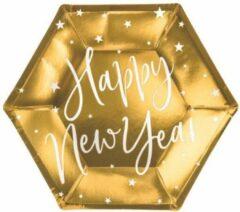 Gouden PartyDeco Borden Happy New Year gold (6 stuks)