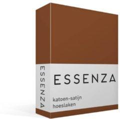Donkerbruine Essenza Hoeslaken van katoensatijn 220TC, hoekhoogte 30 cm