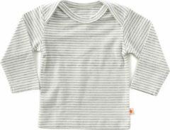 Grijze Little Label - baby - T-shirt - wit, zwarte streepjes - maat 56 - bio-katoen