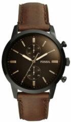 Fossil FS5437 Horloge Townsman Chronograaf staal-leder zwart-bruin 44 mm