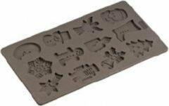 Bruine Lurch - Flexiform - Bakvorm - Voor 12 koekjes - Winter thema - Silicone - 17x30cm