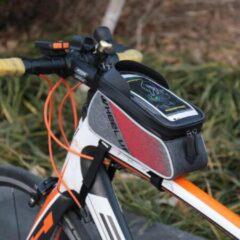 WHEEL UP 6-inch Nylon fiets frametasje Waterproef Touch Screen gsm tas - Rood