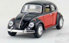 1967 Volkswagen Classic Beetle (Zwart/Rood) 1/36 Kinsmart - Modelauto - Schaalmodel - Model auto